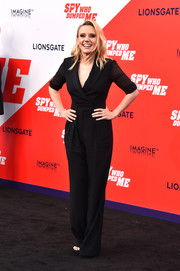 Kate McKinnon kept it simple and smart in a black tux-style jumpsuit by Max Mara at the premiere of 'The Spy Who Dumped Me.'