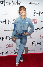 Haley Lu Richardson completed her double-denim look with a pair of patchwork jeans.