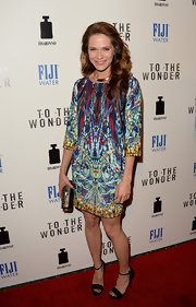 Katie Aselton chose a vibrant kaleidoscopic-print dress for a cool hippie-inspired red carpet look.