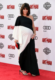 Evangeline Lilly showed off her diva-ish maternity style with this black-and-white Halston Heritage one-shoulder gown during the 'Ant-Man' premiere.