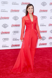 Ming-Na Wen made a dramatic entrance in a flowing red robe layered over a matching jumpsuit at the premiere of 'Avengers: Age of Ultron.'