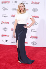 Elizabeth Olsen was all about laid-back glamour in a two-tone Galvan T-shirt gown during the premiere of 'Avengers: Age of Ultron.'