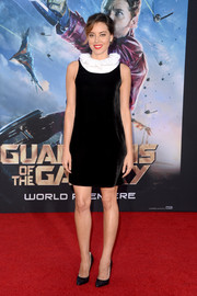 Aubrey Plaza attended the 'Guardians of the Galaxy' premiere wearing an Emporio Armani velvet LBD with a white ruffle neckline.