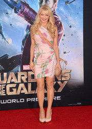 Charlotte Ross showed some curves in a figure-hugging scarf-print one-shoulder dress at the 'Guardians of the Galaxy' premiere.