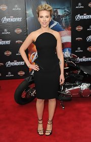 Scarlett Johansson looked killer in her peplum-adorned LBD on the red carpet of 'The Avengers.'