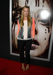 Molly Sims brought some sparkle to the premiere of 'Carrie' with this sequined silver, white, and coral top.