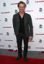 Adam Campbell's charcoal tweed jacket was a dapper finish to his ensemble at the 'Iceman' premiere.