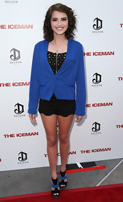 Megan Sherrill toned down the sexiness of her look with a baggy blue blazer when she attended the 'Iceman' premiere.