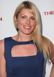 Meredith Ostrom wore her blonde hair sleek straight at the premiere of 'The Iceman.'