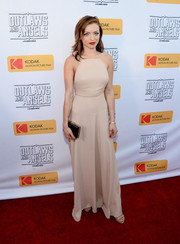 Francesca Eastwood was minimalist-chic in a nude halter gown during the premiere of 'Outlaws and Angels.'