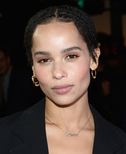 Zoe Kravitz went for a boho-chic multi-braid updo when she attended the premiere of 'Gemini.'