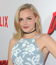 Madeline Brewer sported a fun and chic flippy hairstyle at the premiere of 'Marvel's Daredevil.'