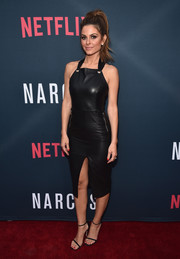 Maria Menounos made a chic appearance at the 'Narcos' season 2 premiere wearing this black leather apron dress by Rebecca Vallance.