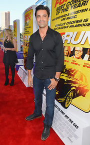 This slim-fit button down shirt highlighted Gilles Marini's fit form nicely.