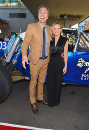 Dax Shepard was an attention-grabber in his tan suit at the premiere of 'Hit & Run.'
