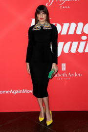 Lake Bell looked ultra sophisticated at the premiere of 'Home Again' in a form-fitting black Antonio Berardi dress with an oversized beaded collar.