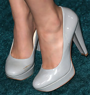 Christian Serratos chose a pair of pale gray platform pumps for her red carpet look at 'The Host.'