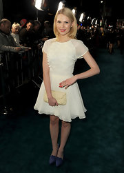 Claudia Lee chose this white frilly frock with floral detailing for her red carpet look.