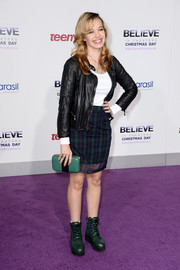 Sadie Calvano completed her outfit with tough-looking green combat boots.