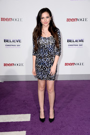 Ryan Newman flaunted her slim physique in a body-con animal-print dress at the premiere of 'Justin Bieber's Believe.'