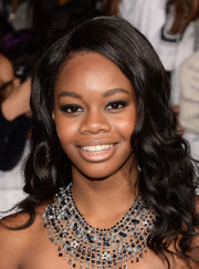 Gabrielle Douglas topped off her look with an attention-grabbing beaded statement necklace.