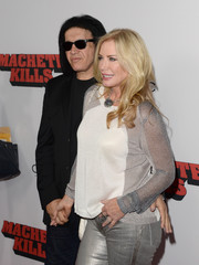 Shannon Tweed looked modern and chic in a white and silver crewneck sweater with sheer sleeves during the 'Machete Kills' premiere.