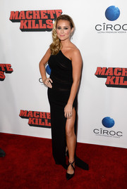 Alexa Vega paired a sophisticated one-shoulder dress with black pumps featuring lace-up ankle straps for the 'Machete Kills' premiere.
