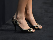 Rebecca Da Costa chose these black and gold, swirl design peep-toe pumps for her red carpet look at the 'G.I. Joe: Retaliation' premiere.