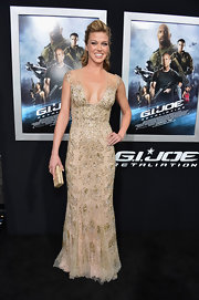 Adrianne Palicki stunned in a nude capped sleeve gown with sequin detailing, which she wore to the 'G.I. Joe: Retaliation' premiere.