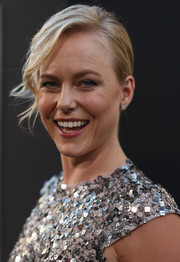 Ingrid Bolso Berdal sported an updo with messy-wavy tendrils down one side during the premiere of 'Hercules.'