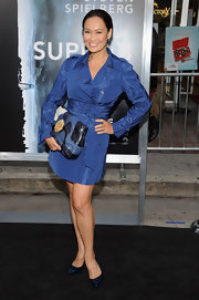 Tia Carrere looked super stylish at the 'Super 8' premiere in a blue trenchcoat.