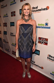 Meghan King Edmonds attended the premiere party for 'The Real Housewives of Orange County' wearing a strapless, symmetrical-print dress.