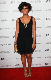 Anika Noni Rose wore a glittering black frock with a drop waist for the 'Bag of Bones' premiere.