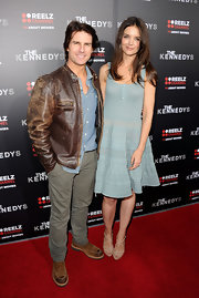 Tom looks vintage-chic in a worn in brown leather jacket at 'The Kennedys' premiere.