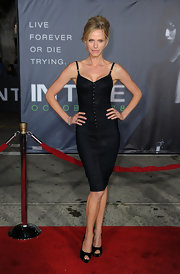Rachel Roberts looked saucy at the 'In Time' premiere wearing a sleek black corset dress.
