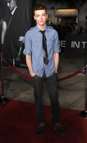 Cameron Monaghan wore a modern black-and-white diagonal striped tie to the Premiere of Regency Enterprises 'In Time.'