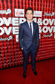 Miles Teller's blue suit popped against the red carpet at the premiere of '21 and Over.'