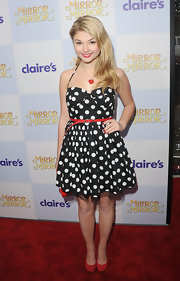 Stefanie Scott wore this polka-dot corset dress to the premiere of 'Mirror Mirror.'.
