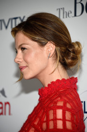 Michelle Monaghan teamed her hairstyle with a pair of dangling diamond earrings.
