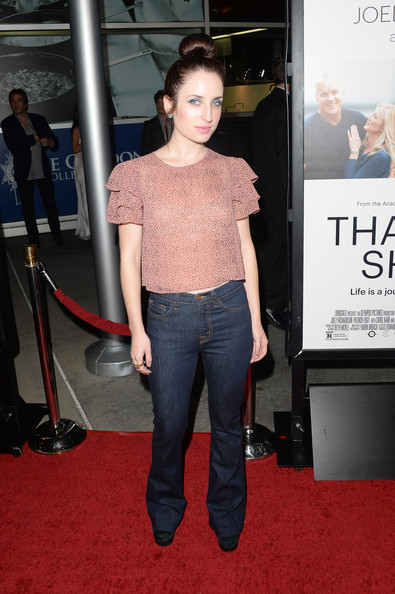 Zoe Lister Jones kept it casual on the red carpet in jeans and a blouse with ruffled sleeves when she attended the 'Thanks for Sharing' premiere.