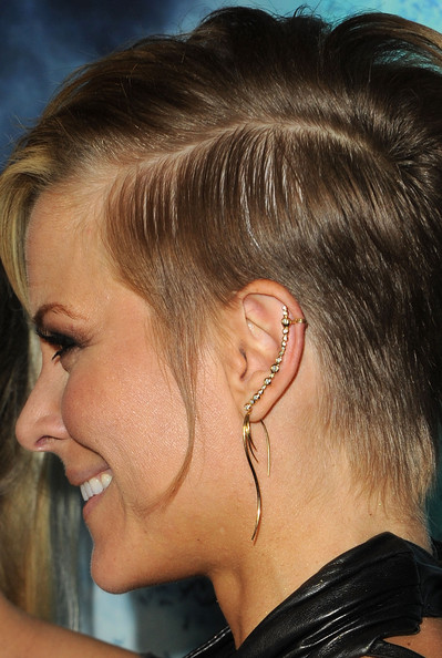 Brittany showed off a funky dangle earring complete with diamond studs.