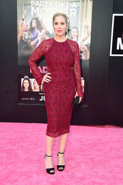 Christina Applegate was a classic beauty in a red lace dress by Rebecca Vallance during the premiere of 'Bad Moms.'