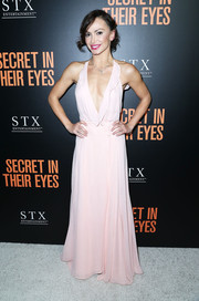 Karina Smirnoff showed off her slim frame in a deep-V pale-pink gown while attending the premiere of 'Secret in Their Eyes.'