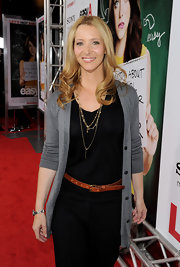 Lisa Kudrow spruced up her black top and slacks combo with a tan leather belt and a cardigan at the premiere of 'Easy A.'