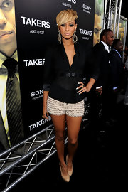 Keri paired her cinched blazer with metal encrusted shorts.