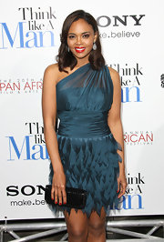 Sharon Leal donned a teal iridescent cocktail dress for the 'Think Like a Man' premiere.