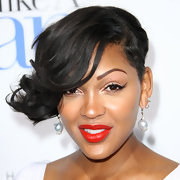 Meagan Good wore a vivid tomato-red lipstick at the premiere of 'Think Like a Man.'