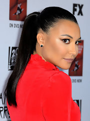 Naya looked striking in this sleek black ponytail for the premiere of 'American Horror Story: Asylum' in Hollywood..