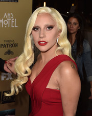 Lady Gaga showed off flawlessly styled golden waves at the premiere of 'American Horror Story: Hotel.'