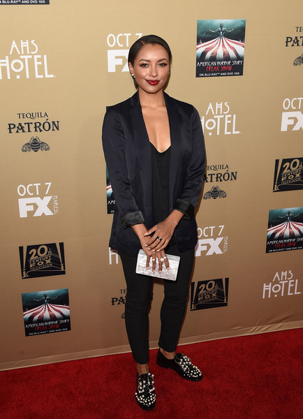 More Pics of Kat Graham Box Clutch (4 of 13) - Clutches Lookbook - StyleBistro [american horror story: hotel,carpet,red carpet,premiere,footwear,flooring,shoe,event,style,kat graham,california,los angeles,regal cinemas l.a. live,fx,premiere screening of fxs american horror story: hotel - arrivals,premiere screening]